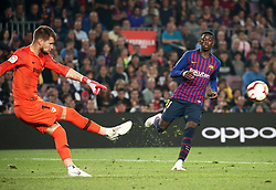 October 20, 2018 - Barcelona, Catalonia, Spain - Ousmane Dembele and Vacilik during the match between FC Barcelona and Sevilla CF, corresponding to the week 9 of the Liga Santander, played at the Camp Nou, on 20th October 2018, in Barcelona, Spain. (Credit Image: © Joan Valls/NurPhoto via ZUMA Press)