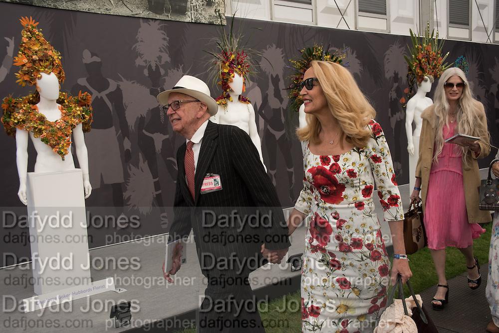 RUPERT MURDOCH; JERRY HALL; KRISTEN MCMENAMY Press view of the 2016 RHS  Chelsea Flower Show,  London.