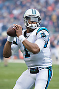 CHICAGO, IL - OCTOBER 22:  Cam Newton #1 of the Carolina Panthers throws a pass to warm up before a game against the Chicago Bears at Soldier Field on October 22, 2017 in Chicago, Illinois.  The Bears defeated the Panthers 17-3.  (Photo by Wesley Hitt/Getty Images) *** Local Caption *** Cam Newton