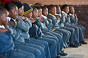 Children from Matsie Steyn primary school, Sharpeville, take part in songs and dancing during the 'No Monkey Business' show.