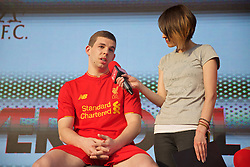 LIVERPOOL, ENGLAND - Monday, May 9, 2016: Liverpool's Jon Flanagan is interviewed by Claire Rourke at the launch of the New Balance 2016/17 Liverpool FC kit at a live event in front of supporters at the Royal Liver Building on Liverpool's historic World Heritage waterfront. (Pic by Lexie Lin/Propaganda)