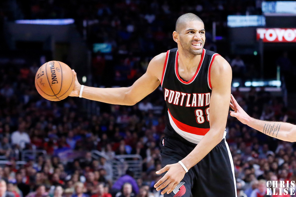 08 November 2014: Portland Trail Blazers forward Nicolas Batum (88) looks to pass the ball during the Los Angeles Clippers 106-102 victory over the Portland Trail Blazers, at the Staples Center, Los Angeles, California, USA.