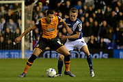Birmingham City midfielder Maikel Kieftenbeld holds up Hull City midfielder Jake Livermore 0-0 during the Sky Bet Championship match between Birmingham City and Hull City at St Andrews, Birmingham, England on 3 March 2016. Photo by Alan Franklin.