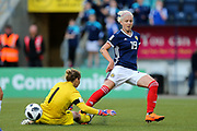 Natalia Voskobovich (#1) of Belarus blocks the shot from Lana Clelland (#19) of Scotland during the FIFA Women's World Cup UEFA Qualifier match between Scotland Women and Belarus Women at Falkirk Stadium, Falkirk, Scotland on 7 June 2018. Picture by Craig Doyle.