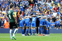 AFC Wimbledon huddle before kick off in The League Two Playoff Final - Mandatory by-line: Robbie Stephenson/JMP - 30/05/2016 - FOOTBALL - Wembley Stadium - London, England - AFC Wimbledon v Plymouth Argyle - Sky Bet League Two Play-off Final
