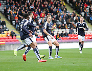 Greg Stewart celebrates after scoring Dundee's winning goal - Partick Thistle v Dundee, Ladbrokes Premiership at Firhill<br /> <br />  - &copy; David Young - www.davidyoungphoto.co.uk - email: davidyoungphoto@gmail.com