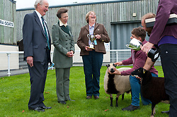 © Licensed to London News Pictures. 17/09/2018. Llanelwedd, Powys, Wales, UK. Princess Anne, The Princess Royal, visits the NSA (National Sheep Association) Wales & Border Ram Sale - reportedly the biggest in Europe - at the Royal Welsh Showground in Powys, Wales, UK. There are two NSA Wales & Border Ram Sales held each year: An early one in August and the main one in September. More than 5,000 rams from about 30 breeds will be on sale. Photo credit: Graham M. Lawrence/LNP