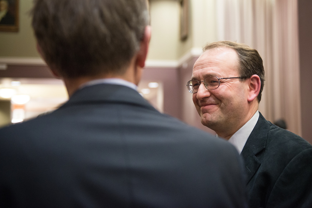 Dr. Alexander Govorov, one of two Distinguished Professor Recipients, speaks with attendees of the Distinguished Professor Award Ceremony at Ohio University's Baker Center Ballroom on Monday, February 20, 2017.