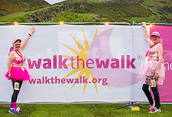 Pictured: Moonwalk Scotland, Edinburgh, Scotland, United Kingdom, 08 June 2019. The 14th Moonwalk Scotland 'Walk the Walk' night-time event with several thousand participants wearing specially decorated bras choose between New Moon (6.55 Miles), Half Moon Marathon (13.1 Miles), Full Moon Marathon (26.2 miles) and Over The Moon (52.4 Miles) to raise money  and awareness for breast cancer causes. Carol Gordon and Hilary Scott, Moonwalk participants.<br /> <br /> Sally Anderson | EdinburghElitemedia.co.uk