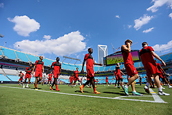CHARLOTTE, USA - Saturday, July 21, 2018: Liverpool's Rafael Camacho, Sadio Mane and Fabio Henrique Tavares 'Fabinho' during a training session at the Bank of America Stadium ahead of a preseason International Champions Cup match between Borussia Dortmund and Liverpool FC. (Pic by David Rawcliffe/Propaganda)