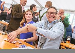 21.04.2018, Kuglhof, Salzburg, AUT, Landtagswahl in Salzburg 2018, FPOe Wahlkampfschlussveranstaltung, im Bild v.l.: Marlene Svazek (FPOe), Vizekanzler Heinz- Christian Strache (FPOe) // f.l.: Marlene Svazek (FPOe), Austrian Vice Chancellor Heinz- Christian Strache during a campaign event of the FPOe Party for the State election in Salzburg 2018. Kuglhof in Salzburg, Austria on 2018/04/21. EXPA Pictures © 2018, PhotoCredit: EXPA/ JFK