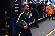 Raheem Sterling (7) of Manchester City gets off the team bus on arrival at the Viatlity Stadium before the Premier League match between Bournemouth and Manchester City at the Vitality Stadium, Bournemouth, England on 2 March 2019.