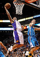 Nov. 23, 2012; Phoenix, AZ, USA; Phoenix Suns guard Shannon Brown (26) looks to dunk the ball during the game against the New Orleans Hornets in the second half at US Airways Center. The Suns defeated the Hornets 111-108 in overtime. Mandatory Credit: Jennifer Stewart-US PRESSWIRE