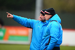 BRACKLEY ASSISTANT MANAGER MARK NOON POINTS WITH MANAGER KEVIN WILKIN, Brackley Town v Harrogate Town Vanarama National League North, St James Park Good Friday 30th March 2018, Score 0-0.