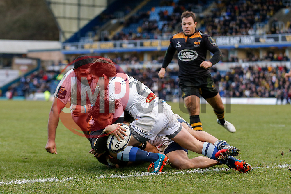 Wasps Outside Centre Ben Jacobs goes over to score the final try of the Clubs time at Adams Park with their next match set to be played at their new home in Coventry, the Ricoh Arena - Photo mandatory by-line: Rogan Thomson/JMP - 07966 386802 - 14/12/2014 - SPORT - RUGBY UNION - High Wycombe, England - Adams Park Stadium - Wasps v Castres Olympique - European Rugby Champions Cup Pool 2.