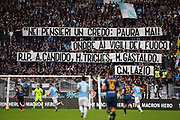 Supporters of Lazio show a banner during the Italian championship Serie A football match between SS Lazio and US Lecce Sunday, Nov. 10, 2019 at the Stadio Olimpico in Rome. SS Lazio defeated US Lecce 4-2. (Federico Proietti/Image of Sport)