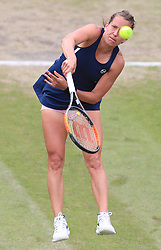 Barbara Strycova in action against Magdalena Rybarikova during their semi final match on day six of the Nature Valley Classic at Edgbaston Priory, Birmingham.