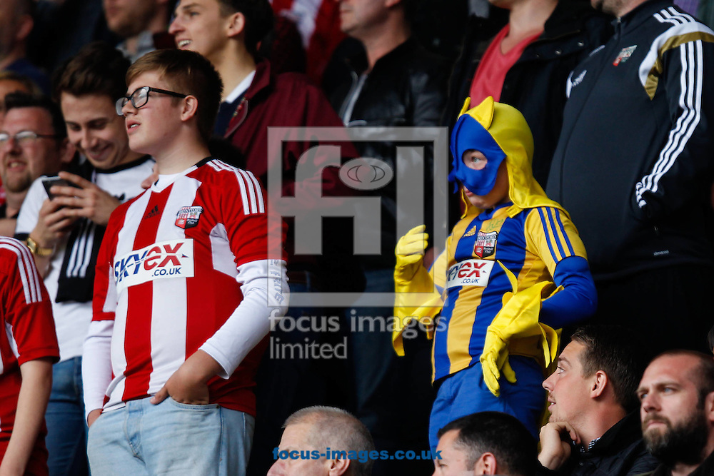 Bananaman makes an appearance among the Brentford fans during the Sky Bet Championship match between Reading and y of Brentford at the Madejski Stadium, Reading<br /> Picture by Mark D Fuller/Focus Images Ltd +44 7774 216216<br /> 25/04/2015
