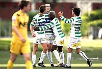 Fotball<br /> Adeccoligaen 2007<br /> 20.06.2007<br /> LøvHam v Bodø/Glimt 4-0<br /> Foto: Morten Olsen, Digitalsport<br /> <br /> Ørjan Låstad jubler for scoring til Løv-Ham<br /> Gratuleres av Arve Walde (18) - Arnoud Monkam (6) og Erlend Storesund (8)