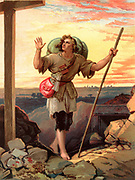 Christian, the pilgrim of the title, in sight of the Cross. Illustration by Henry Courtney Selous (1803-1890) for an 1844 edition of 'The Pilgrim's Progress' by John Bunyan, originally published in 1678.  Chromolithograph.