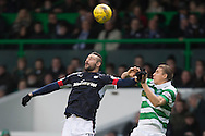 Dundee&rsquo;s Marcus Haber and Celtic&rsquo;s Jozo Simunovic - Celtic v Dundee in the Ladbrokes Scottish Premiership at Celtic Park, Glasgow. Photo: David Young<br /> <br />  - &copy; David Young - www.davidyoungphoto.co.uk - email: davidyoungphoto@gmail.com