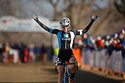 SHOT 1/12/14 3:10:36 PM - Katherine Compton (#1) of Colorado Springs, Co. celebrates as she crosses the finish line in the Women's Elite race at the 2014 USA Cycling Cyclo-Cross National Championships at Valmont Bike Park in Boulder, Co. Compton won the race with a time of 42.36. (Photo by Marc Piscotty / © 2014)