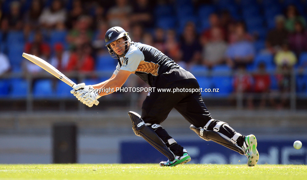 New Zealand captain Ross Taylor in action batting. Twenty20 International Cricket match between The New Zealand Black Caps and Pakistan at Eden Park on Boxing Day, Sunday 26 December 2010. Photo: Andrew Cornaga/photosport.co.nz
