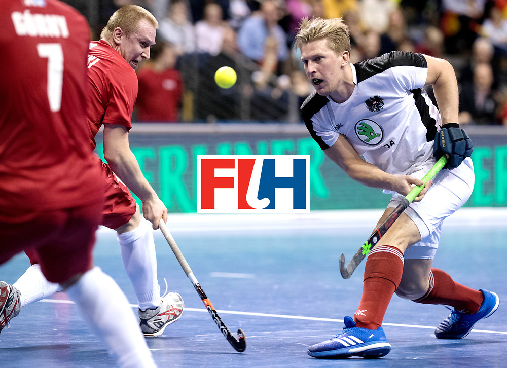 BERLIN - Indoor Hockey World Cup<br /> Quarterfinal 2: Austria - Poland<br /> foto: Michael K&ouml;rper and MAKOWSKI Krystian.<br /> WORLDSPORTPICS COPYRIGHT FRANK UIJLENBROEK