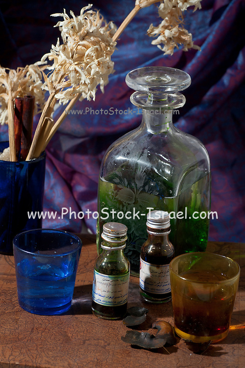 Middle eastern Still life Bottles of perfume essence