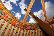 TERELJ, MONGOLIA..09/04/2001.Decorated wooden roof poles and center columns of a ger..(Photo by Heimo Aga)