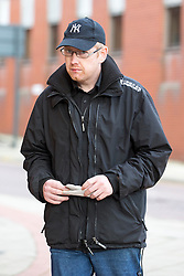 © Licensed to London News Pictures. 26/11/2015. Leeds UK. Matthew Ingham arrives at Leeds Magistrates court this afternoon accused of selling stealing laptops and computer equipment stolen from the children cancer ward at Leeds General Infirmary. His ex partner Kim Ager is also accused of selling the stolen equipment. The couple's son Callum age 9 was being treated for Neuroblastoma, an aggressive form of childhood cancer.Photo credit: Andrew McCaren/LNP