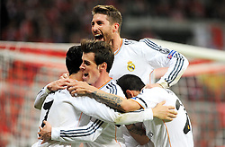 29.04.2014, Allianz Arena, Muenchen, GER, UEFA CL, FC Bayern Muenchen vs Real Madrid, Halbfinale, Ruckspiel, im Bild Freude bei Cristiano Ronaldo (Real Madrid) nach seinem Tor zum 0:3, ganz links. Daneben Gareth Bale (Real Madrid), Sergios Ramos (Real Madrid) und Angel di Maria (Real Madrid) // during the UEFA Champions League Round of 4, 2nd Leg Match between FC Bayern Munich vs Real Madrid at the Allianz Arena in Muenchen, Germany on 2014/04/29. EXPA Pictures © 2014, PhotoCredit: EXPA/ Eibner-Pressefoto/ Stuetzle<br /> <br /> *****ATTENTION - OUT of GER*****