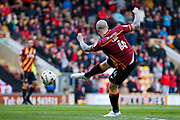 Bradford City midfielder Nicky Law (4) with a volley during the EFL Sky Bet League 1 play off first leg match between Bradford City and Fleetwood Town at the Coral Windows Stadium, Bradford, England on 4 May 2017. Photo by Simon Davies.