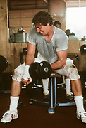 COLLEGE FOOTBALL:  Chuck Evans of Stanford works out c. 1979 at Stanford University in Palo Alto, California.  Photograph by David Madison (www.davidmadison.com).