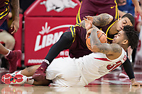 FAYETTEVILLE, AR - DECEMBER 9:  Anton Beard #31 of the Arkansas Razorbacks goes after a loose ball against Nate Mason #2 of the Minnesota Golden Gophers at Bud Walton Arena on December 9, 2017 in Fayetteville, Arkansas.  The Razorbacks defeated the Golden Gophers 95-79.  (Photo by Wesley Hitt/Getty Images) *** Local Caption *** Anton Beard; Nate Mason