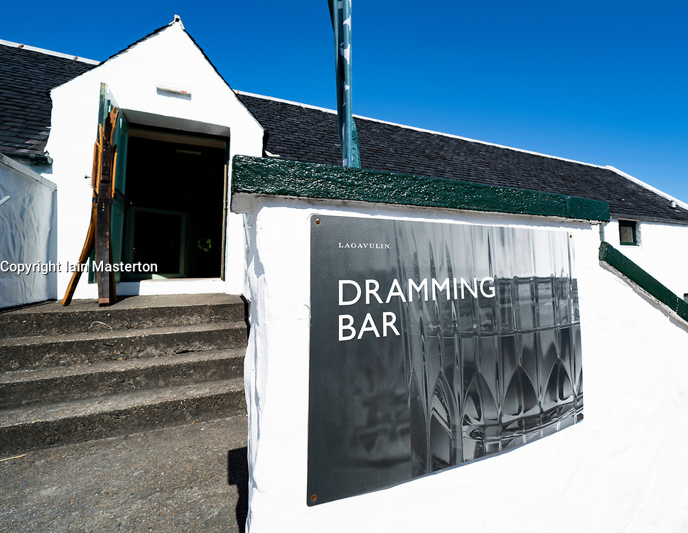 View of Dramming Bar at Lagavulin Distillery on island of Islay in Inner Hebrides of Scotland, UK
