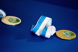 Medals during final competition of IFSC Climbing World Cup Kranj 2011, on November 20, 2011 in Arena Zlato Polje, Kranj, Slovenia. (Photo By Vid Ponikvar / Sportida.com)