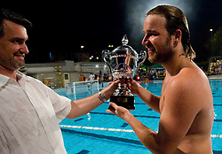 Milan Krajnc, president of VZS and Rok Crnica of VK Rokava Koper  after the water polo match between ASD Vaterpolo Rokava Koper and AVK Triglav Kranj in 3rd Round of Final of Slovenian Water polo National Championship, on June 8, 2011 in Zusterna pool, Koper, Slovenia. Rokava Koper defeated Triglav Kranj 12-6 and became Slovenian Champion 2011. (Photo By Vid Ponikvar / Sportida.com)