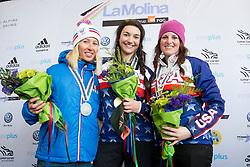 HUCKABY Brenna, HERNANDEZ-CERVELLON Cecile, ROUNDY Nicole, Snowboarder Cross, 2015 IPC Snowboarding World Championships, La Molina, Spain