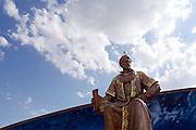 Uzbekistan, Samarqand. Statue of Ulugbek at his observatory.