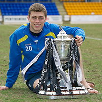 Brechin v St Johnstone Scottish Cup Quarter Final Preview....08.03.11<br /> St Johnstone's Murray Davidson pictured with the Scottish Cup ahead of Saturday's tie at Brechin.<br /> Picture by Graeme Hart.<br /> Copyright Perthshire Picture Agency<br /> Tel: 01738 623350  Mobile: 07990 594431