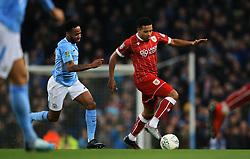 Korey Smith of Bristol City takes on Raheem Sterling of Manchester City - Mandatory by-line: Matt McNulty/JMP - 09/01/2018 - FOOTBALL - Etihad Stadium - Manchester, England - Manchester City v Bristol City - Carabao Cup Semi-Final First Leg