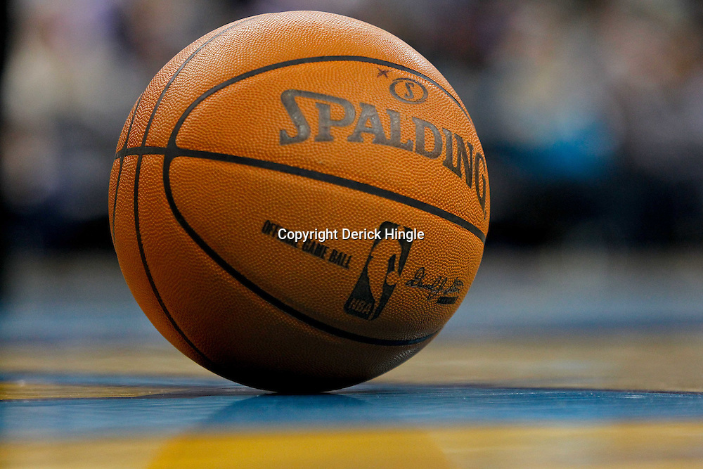 December 21, 2011; New Orleans, LA, USA; A detailed view of a NBA basketball on the court during the second half of a preseason game between the New Orleans Hornets and the Memphis Grizzlies at the New Orleans Arena. The Hornets defeated the Grizzlies 95-80.  Mandatory Credit: Derick E. Hingle-US PRESSWIRE