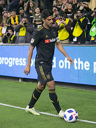 November 1, 2018 - Los Angeles, California, U.S - Carlos Vela #10 of the LAFC gets ready for a corner shot during their MLS playoff game with the Real Salt Lake on Thursday November 1, 2018 at Banc of California Stadium in Los Angeles, California. LAFC vs Real Salt Lake. (Credit Image: © Prensa Internacional via ZUMA Wire)