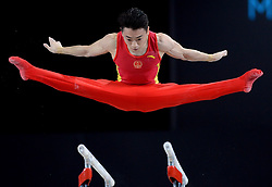 October 8, 2017 - Montreal, Canada - ZOU JINGYUAN, of China, performs his gold medal-winning routine during the parallel bars portion of the Artistic Gymnastics World Championships. (Credit Image: © Ryan Remiorz/The Canadian Press via ZUMA Press)