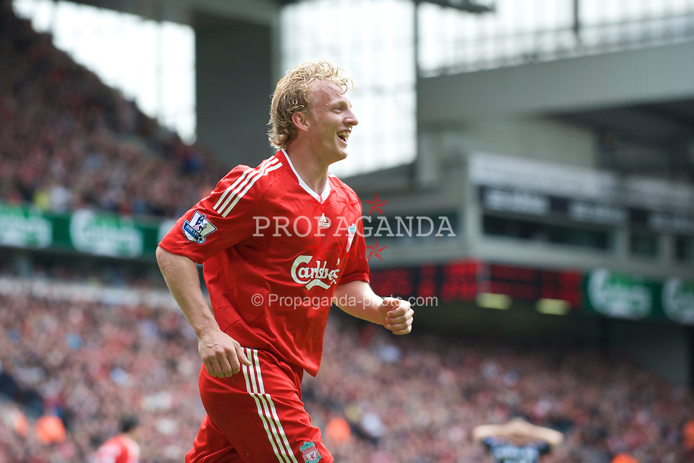 LIVERPOOL, ENGLAND - Sunday, May 3, 2009: Liverpool's Dirk Kuyt celebrates scoring his side's second goal against Newcastle United during the Premiership match at Anfield. (Photo by David Rawcliffe/Propaganda)