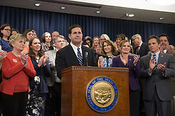 April 12, 2018 - Phoenix, Arizona, U.S - Gov. DOUG DUCEY speaks during a press conference at the state capitol in Phoenix. After pressure and demonstrations by the advocacy group Arizona Educators United, Ducey announced a plan that would raise Arizona teacher salaries 20 percent by the 2020-21 school year. (Credit Image: © Ben Moffat/via ZUMA Wire via ZUMA Wire)