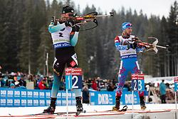 Antonin Guigonnat (FRA) and Alexander Loginov (RUS) in action during the Pursuit Men 12,5 km at day 8 of IBU Biathlon World Cup 2018/19 Pokljuka, on December 9, 2018 in Rudno polje, Pokljuka, Pokljuka, Slovenia. Photo by Urban Urbanc / Sportida