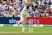 Moeen Ali of England bowling during the International Test Match 2019 match between England and Australia at Edgbaston, Birmingham, United Kingdom on 3 August 2019.