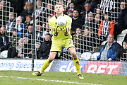 Port Vale goalkeeper Ryan Boot (23) makes a save  during the EFL Sky Bet League 2 match between Grimsby Town FC and Port Vale at Blundell Park, Grimsby, United Kingdom on 10 March 2018. Picture by Mick Atkins.